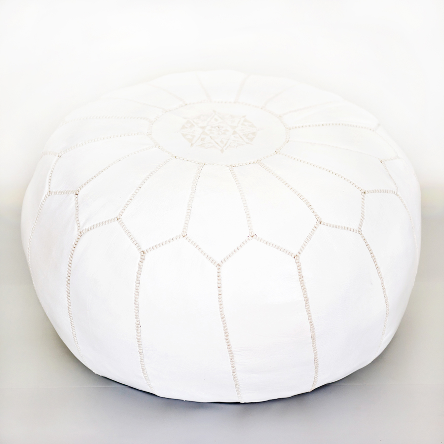 meet f2e79 4f027 Moroccan Leather Pouf - White - Design Menagerie
